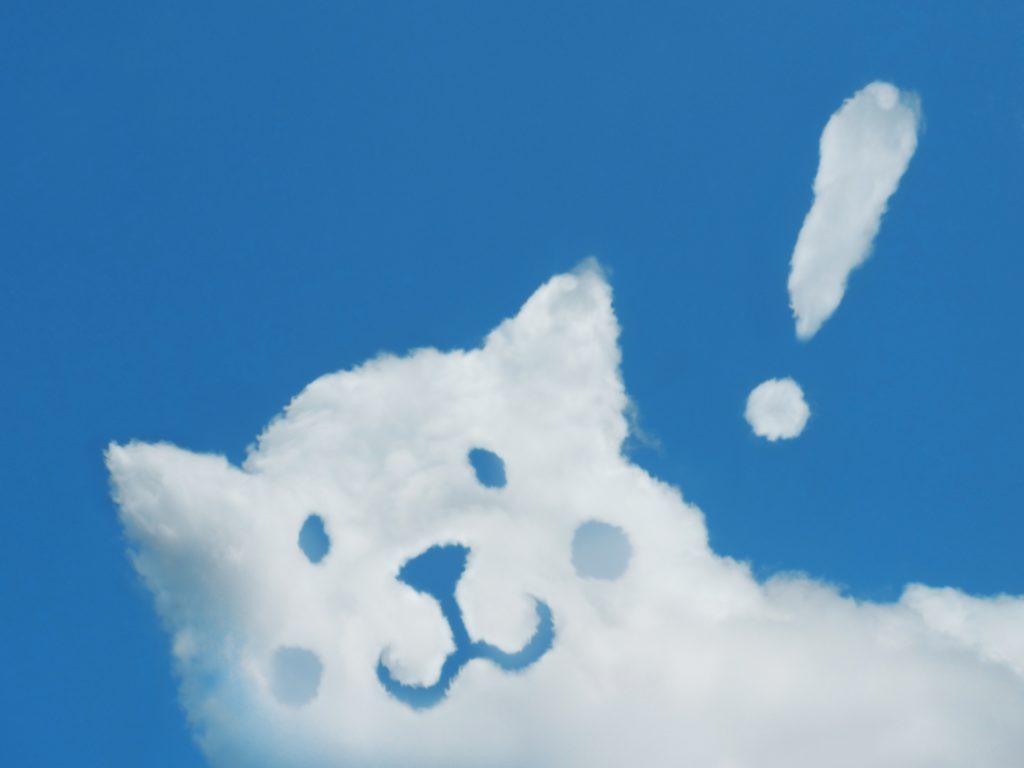 空に浮かぶ犬の形のかわいい雲